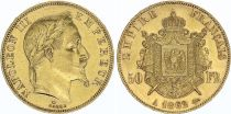 France 50 Francs Napoleon III Laureate head - 1862 A Paris - Gold