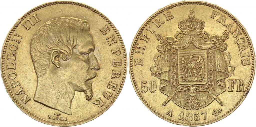 France 50 Francs Napoléon III Tête Nue - 1857 A Paris