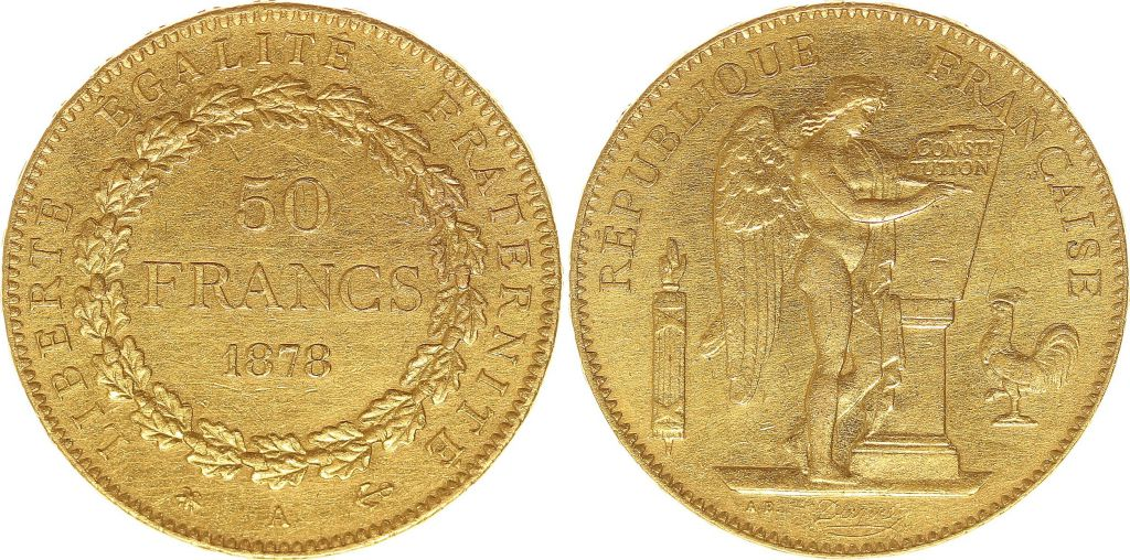 France 50 Francs Or Génie - 1878 A Paris