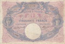 France 50 Francs Pink and blue - 14-09-1904 Serial G.2582