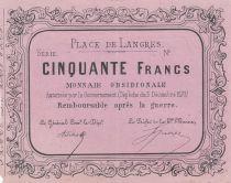 France 50 Francs Place des Langres - 1870 - Monnaie Obsidionale