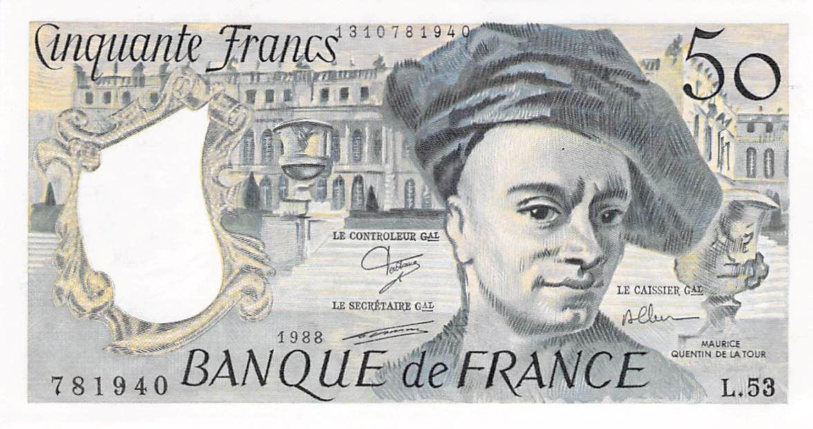 France 50 Francs Quentin de la Tour - 1988 Série L.53 - SPL+