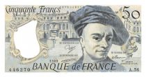 France 50 Francs Quentin de la Tour - 1989 Serial A.56 - AU+
