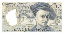 France 50 Francs Quentin de la Tour - 1989 Serial N.55 - XF+