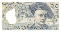 France 50 Francs Quentin de la Tour - 1991 Serial A.67 - AU+