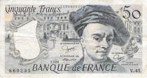 France 50 Francs Quentin de la Tour - années 1976 à 1992 - TB