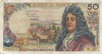 France 50 Francs Racine - 02-02-1967 Serial W.107 - F+ to VF