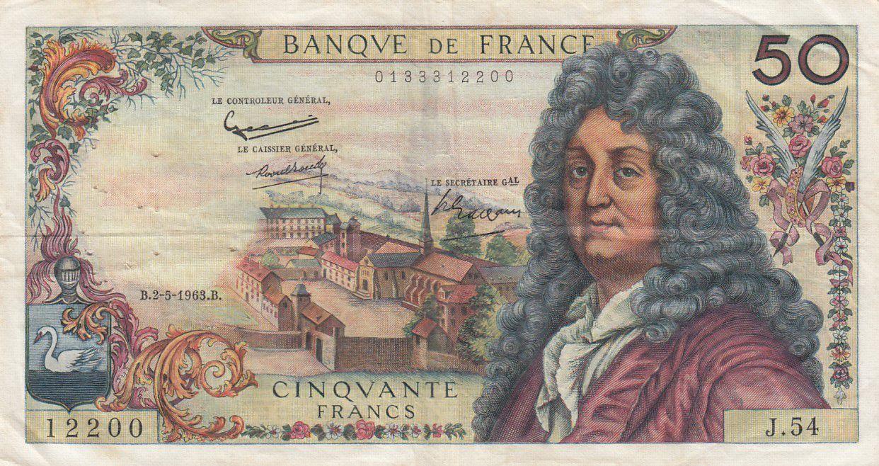 France 50 Francs Racine - 02-05-1963 Série J.54 - TTB