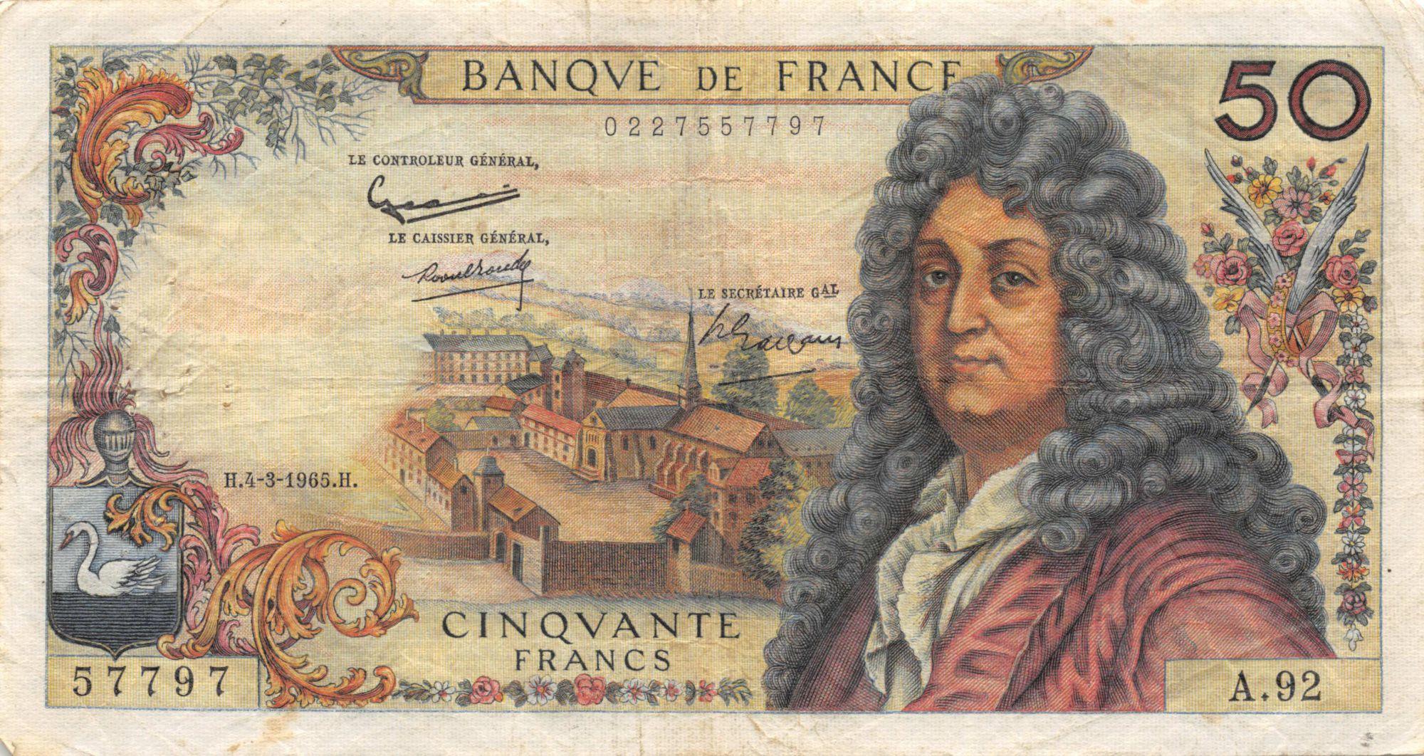 France 50 Francs Racine - 04-03-1965 Série A.92 - TTB