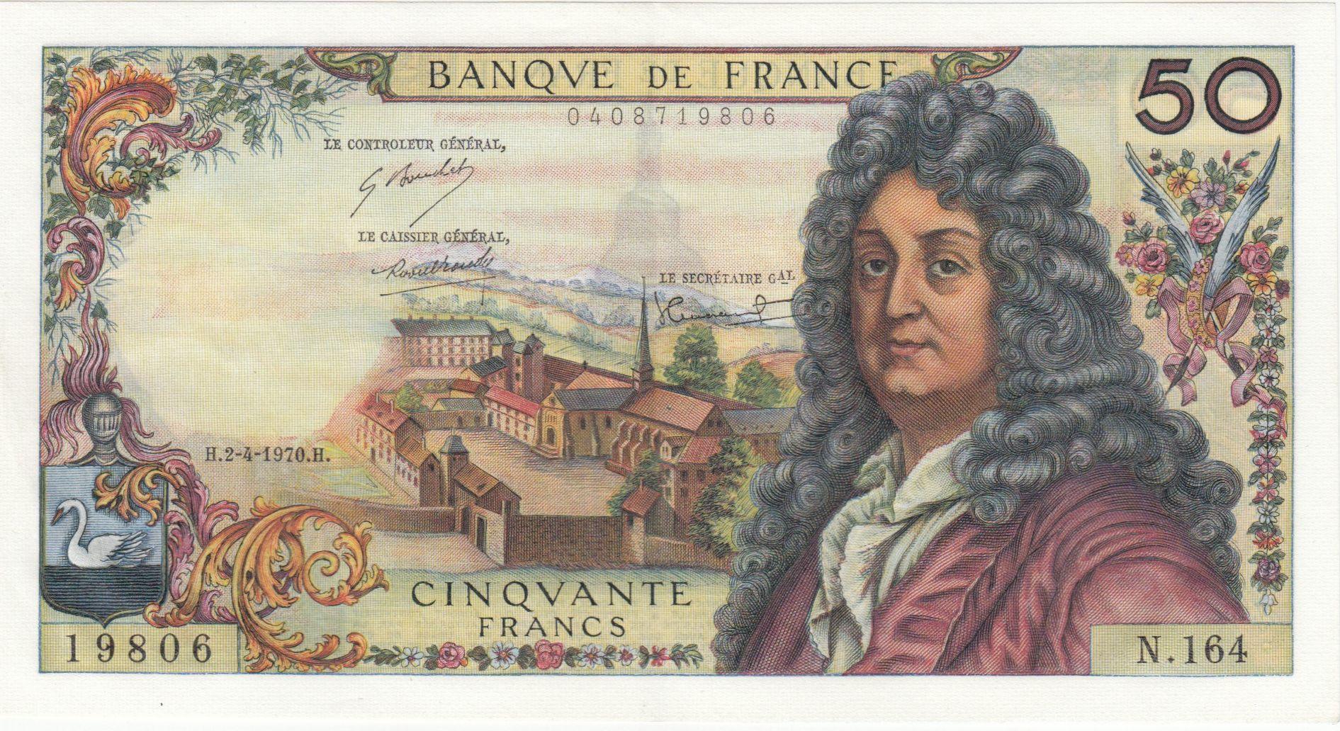 France 50 Francs Racine 02-04-1970 - Série N.164 - SUP+