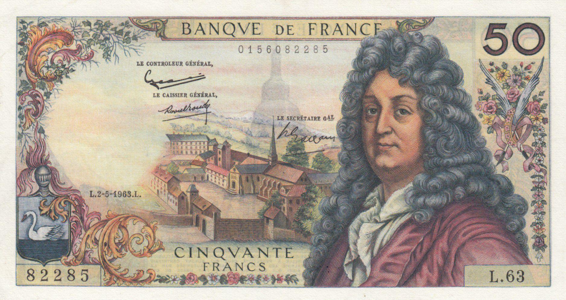 France 50 Francs Racine 02-05-1963 - Serial L.63 - XF+