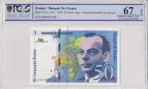 France 50 Francs Saint-Exupéry - 1992 Serial A.000047206 - PCGS 67 OPQ