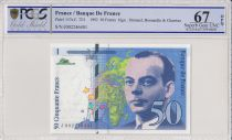 France 50 Francs Saint-Exupéry - 1992 Serial J002 - PCGS 67 OPQ