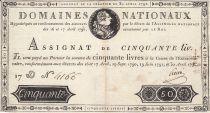 France 50 Livres 16-17 Avril, 29 Sept. 1790, 19 juin 1791 et 30 Avril 1792 - Sign. Herve