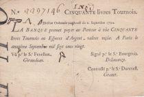France 50 Livres Banque de Law - 02-09-1720 , Division typographié - 2237146