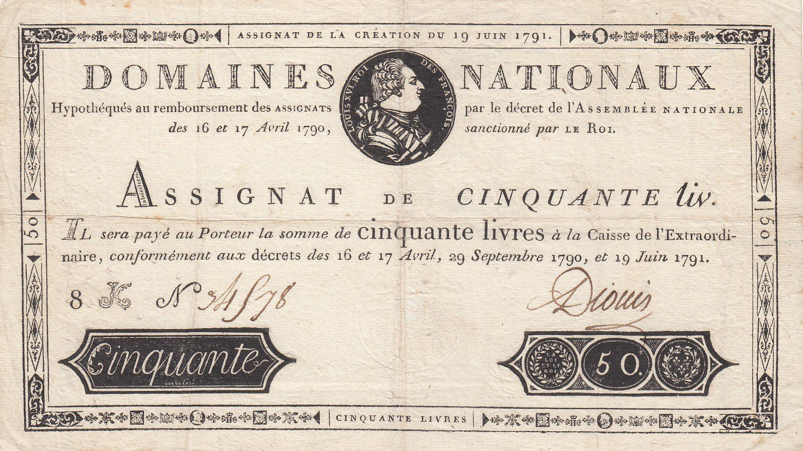 France 50 Livres Bust of Louis XVI - 19-06-1791 Serial 8K - Sign. Dionis - VF