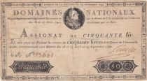France 50 Livres Bust of Louis XVI - 29-09-1790 Serial 6A - Sign. Loiselet - G+
