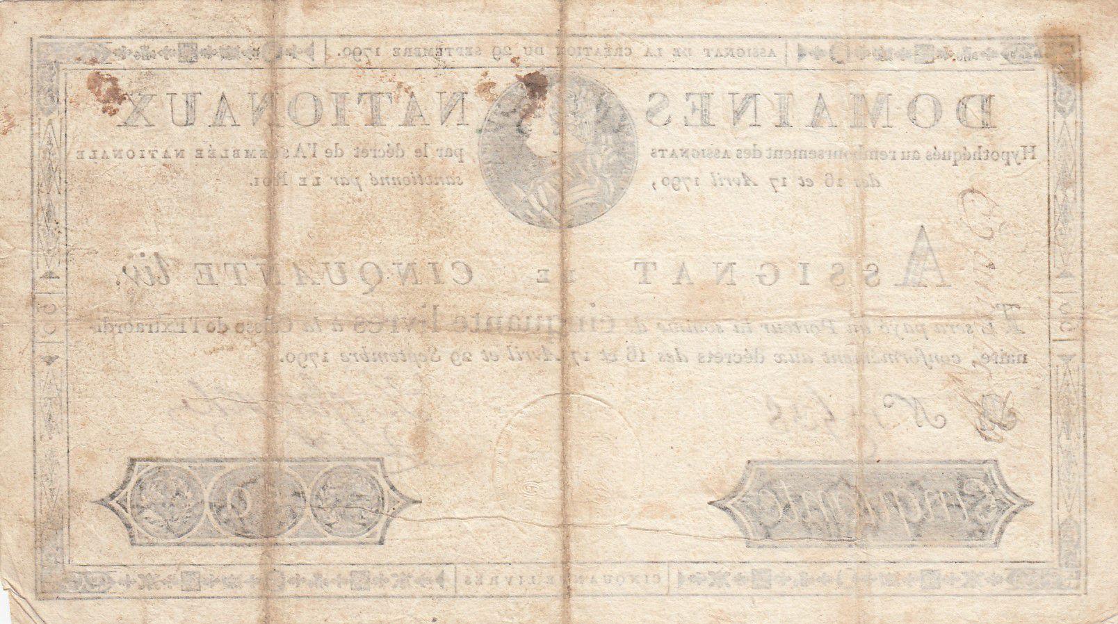 France 50 Livres Bust of Louis XVI - 29-09-1790 Serial B - Sign. Defargues - VF
