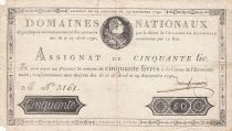 France 50 Livres Bust of Louis XVI - 29-09-1790 Serial B - Sign. Duneuf-Germain - F to VF