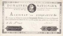 France 50 Livres Bust of Louis XVI - 30-04-1792 Serial 18A - XF