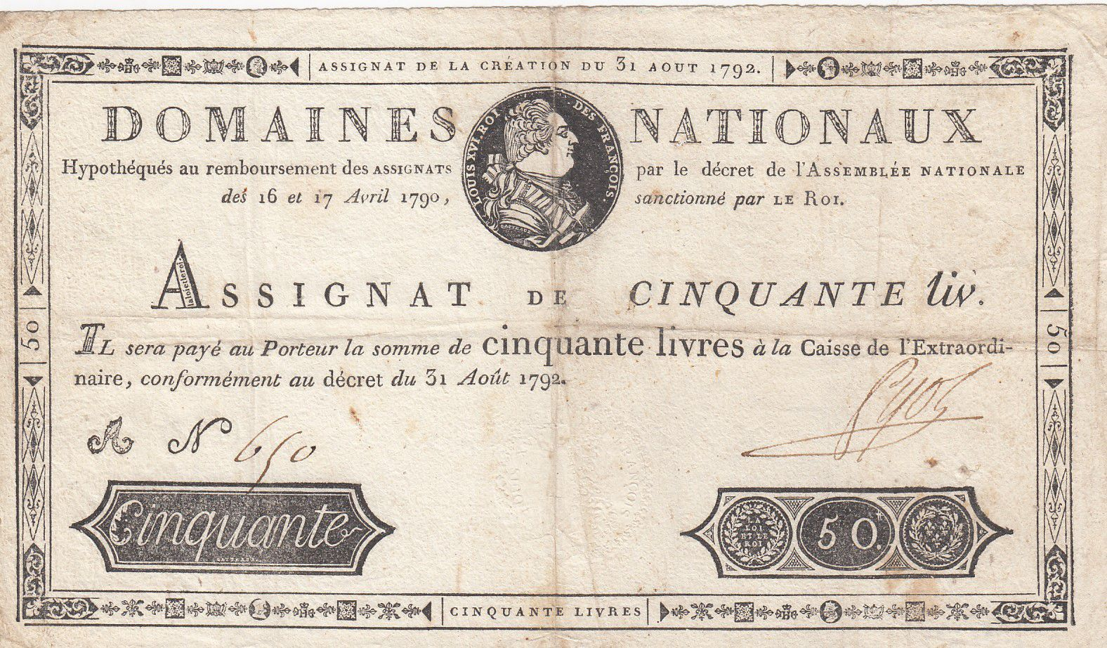 France 50 Livres Bust of Louis XVI - 31-08-1792 Serial A - Sign. Pyot - VF