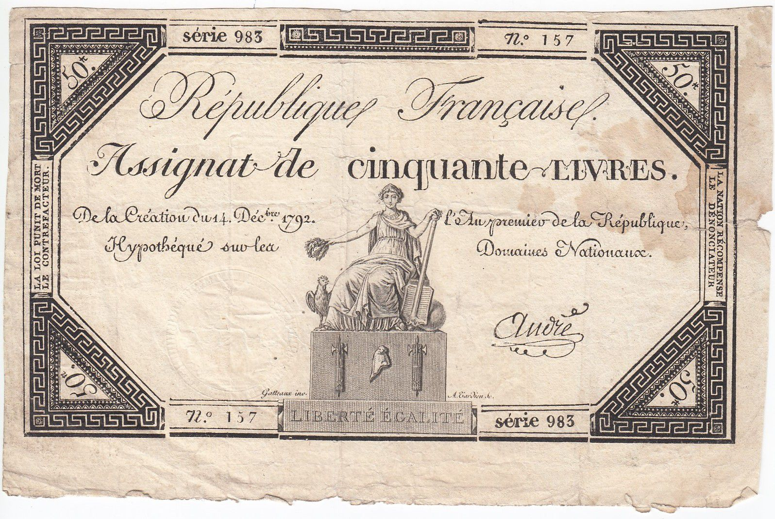 France 50 Livres France assise - 14-12-1792 - Sign. André - TB+