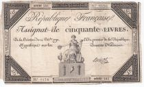 France 50 Livres France assise - 14-12-1792 - Sign. Anicot - TB