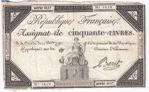 France 50 Livres France assise - 14-12-1792 - Sign. Baret - TB