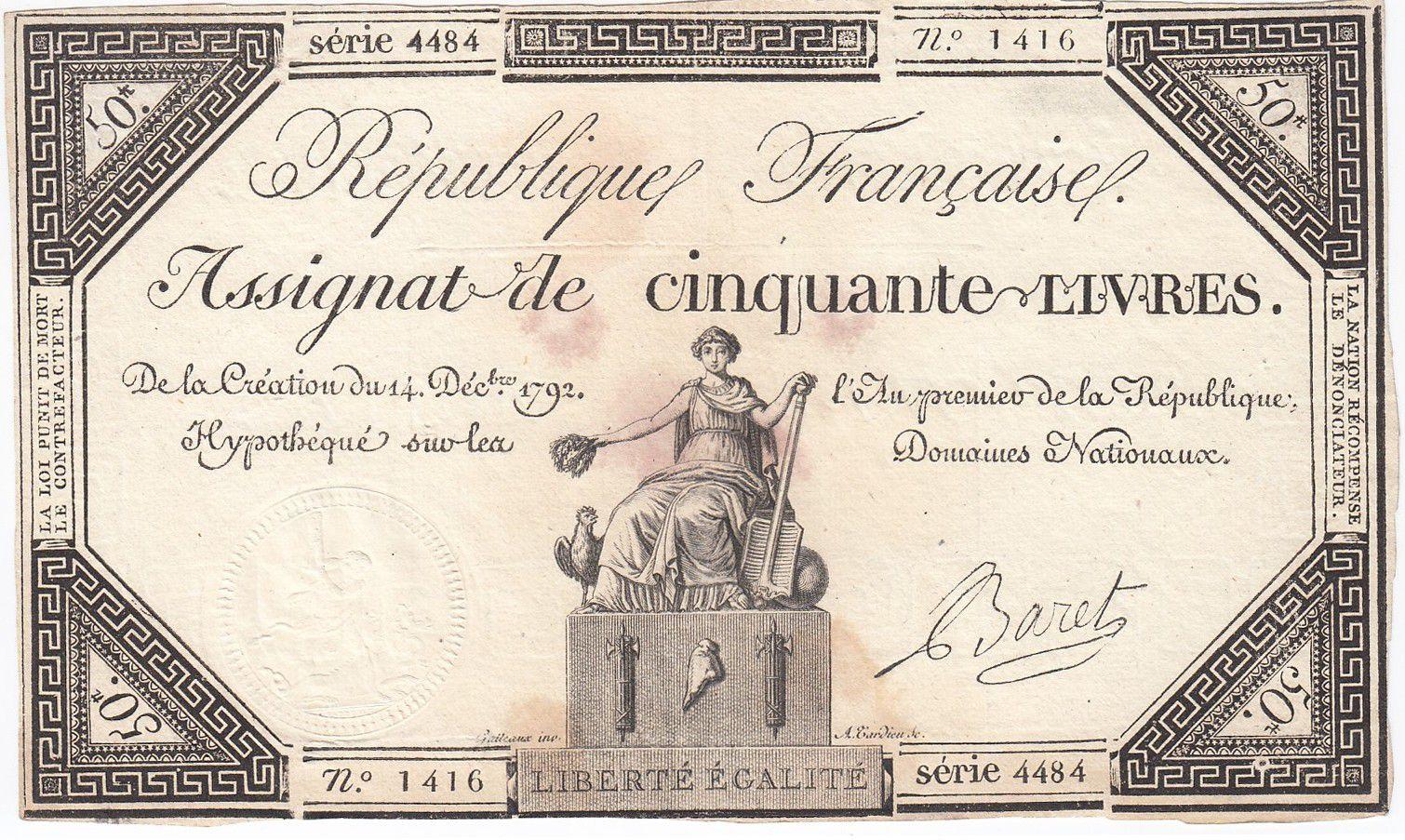France 50 Livres France assise - 14-12-1792 - Sign. Baret - TTB+
