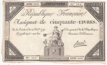 France 50 Livres France assise - 14-12-1792 - Sign. Barraud - TTB