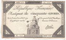 France 50 Livres France assise - 14-12-1792 - Sign. Barraud - TTB