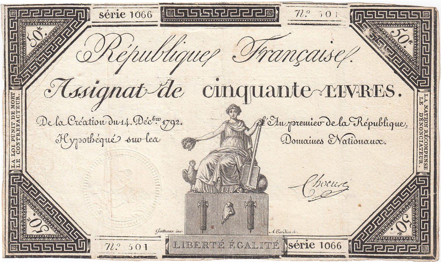 France 50 Livres France assise - 14-12-1792 - Sign. Chocus - TTB