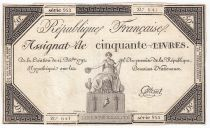 France 50 Livres France assise - 14-12-1792 - Sign. Cottenel - TTB+