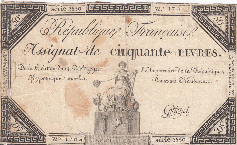 France 50 Livres France assise - 14-12-1792 - Sign. Cottenel