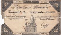 France 50 Livres France assise - 14-12-1792 - Sign. Croisey