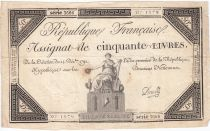 France 50 Livres France assise - 14-12-1792 - Sign. Develle - TB+