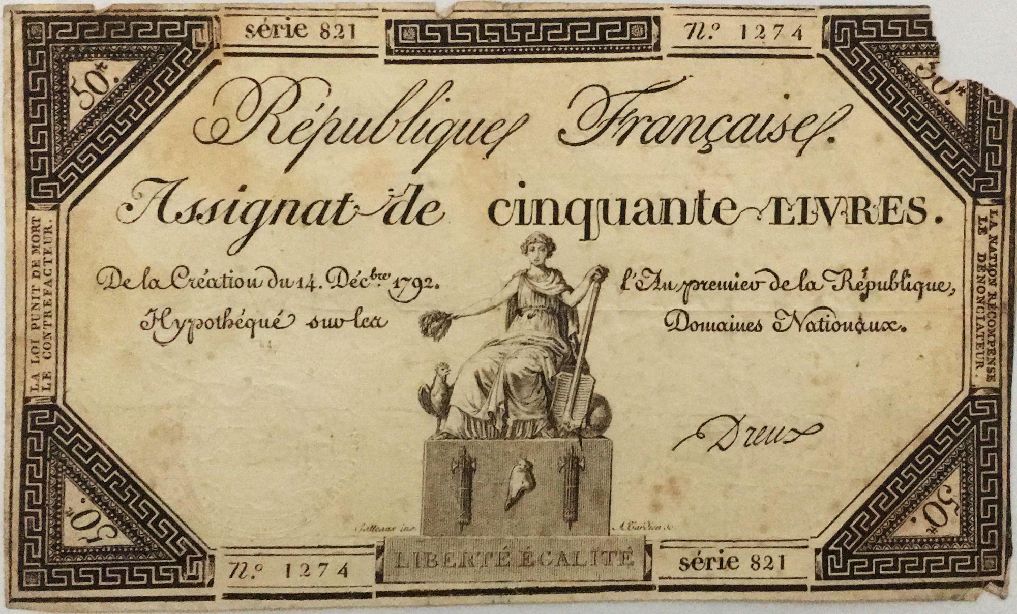 France 50 Livres France assise - 14-12-1792 - Sign. Dreux - Série 821 - B+