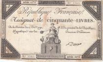 France 50 Livres France assise - 14-12-1792 - Sign. Dreux - TB