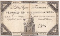 France 50 Livres France assise - 14-12-1792 - Sign. Dufour - TTB