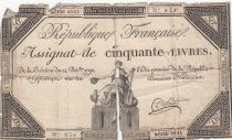 France 50 Livres France assise - 14-12-1792 - Sign. Dufour