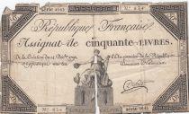 France 50 Livres France assise - 14-12-1792 - Sign. Dufour