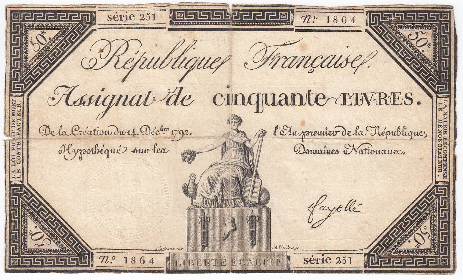 France 50 Livres France assise - 14-12-1792 - Sign. Fayolle - TB