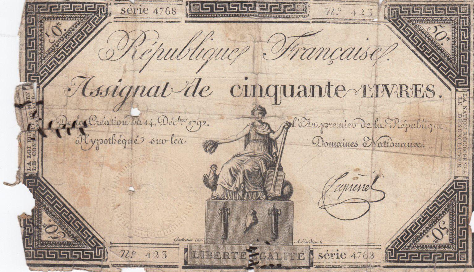France 50 Livres France assise - 14-12-1792 - Sign. Fiquenel