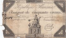 France 50 Livres France assise - 14-12-1792 - Sign. Fiquenel