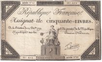 France 50 Livres France assise - 14-12-1792 - Sign. Gaillet - TTB