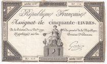 France 50 Livres France assise - 14-12-1792 - Sign. Gautier - TB+