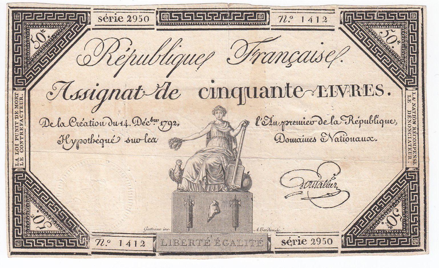 France 50 Livres France assise - 14-12-1792 - Sign. Goutallier - TB+