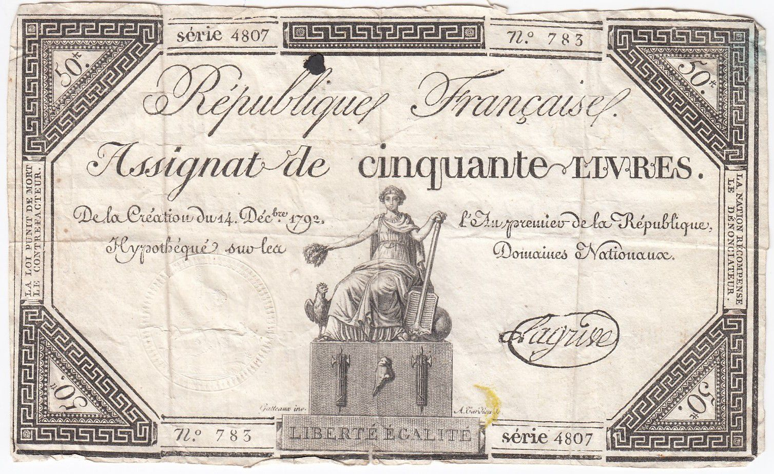 France 50 Livres France assise - 14-12-1792 - Sign. Lagrive - TB
