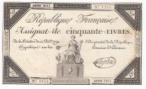 France 50 Livres France assise - 14-12-1792 - Sign. Lagrive - TTB