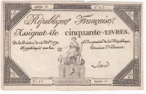 France 50 Livres France assise - 14-12-1792 - Sign. Latour - TTB
